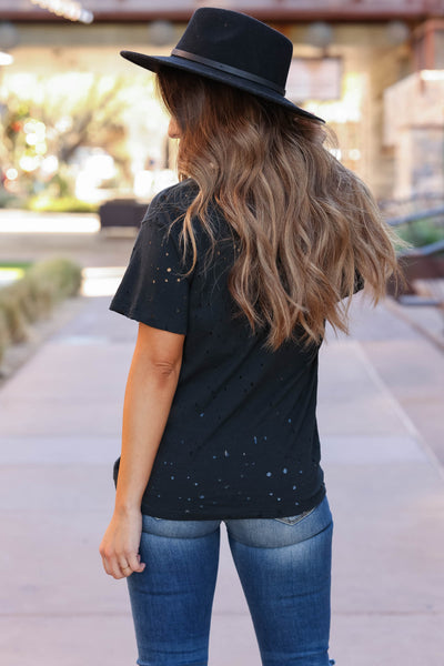 Leopard Star Distressed Graphic Tee - Black closet candy womens trendy printed top back