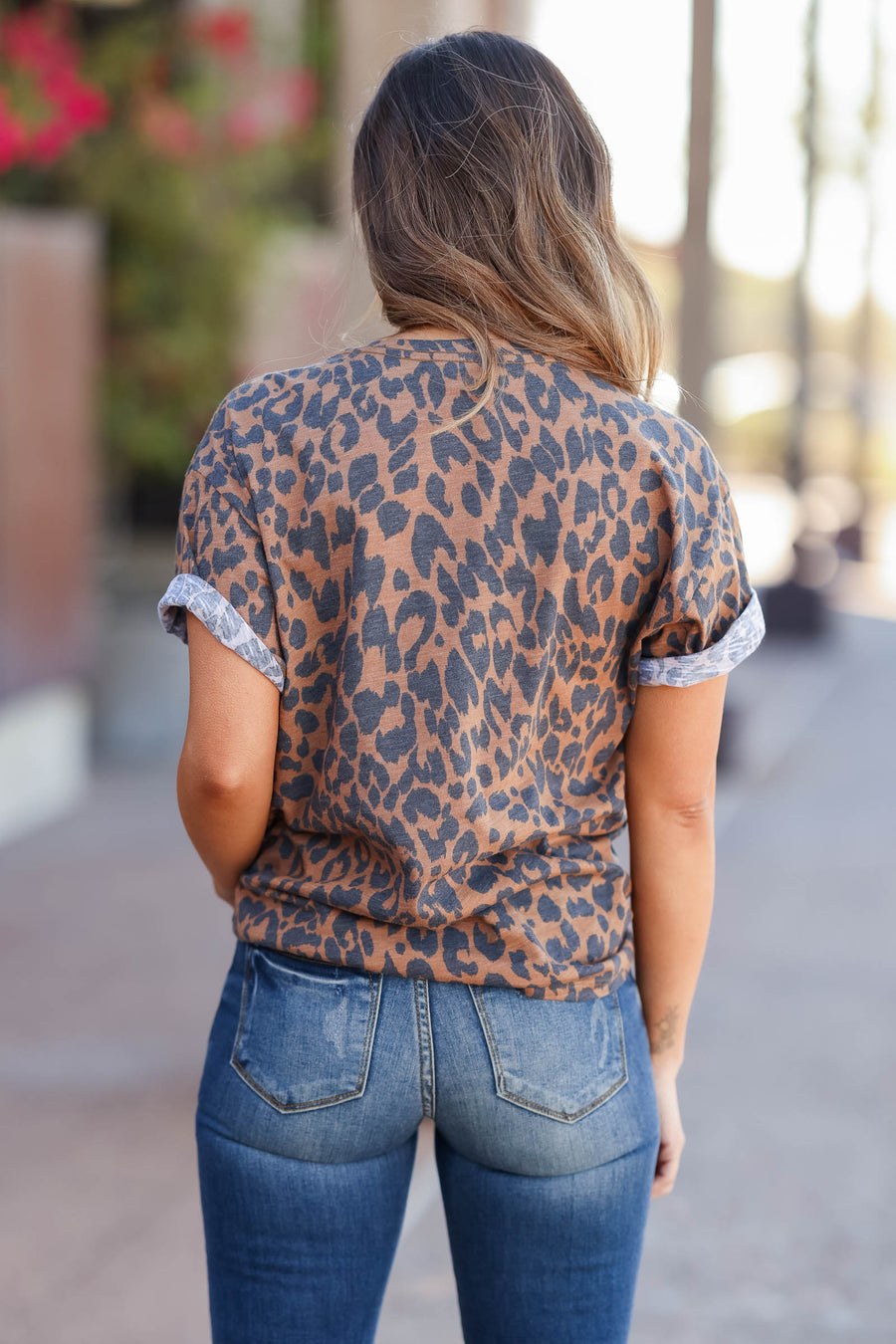 """Savage"" Leopard Graphic Tee - Brown closet candy womens printed round neck shirt 1"