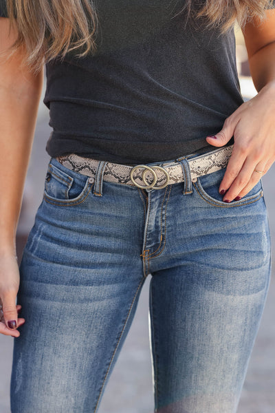 A Little Something Extra Belt - Snake closet candy womens trendy skinny double circle belt 1