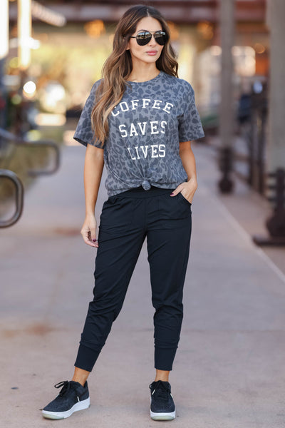 """Coffee Saves Lives"" Leopard Graphic Tee - Charcoal closet candy womens trendy round neck print shirt 1"