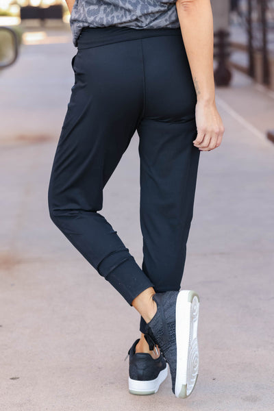THREAD & SUPPLY Just Kickin It Joggers - Black closet candy womens moisture wicking pants back