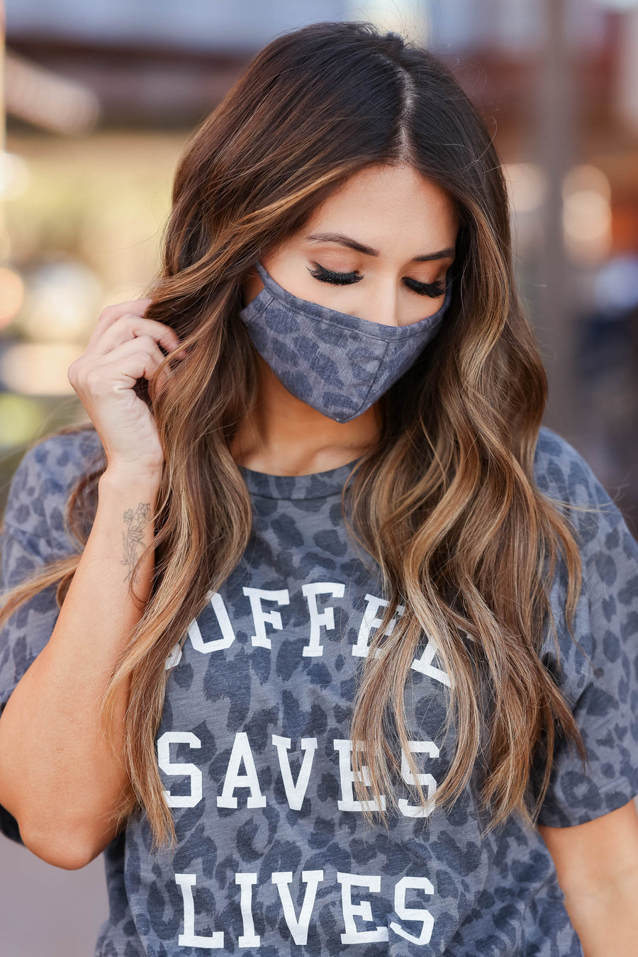 Leopard Fashion Face Covering - Charcoal closet candy 1