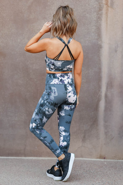 Resolutions Painted Activewear - Grey closet candy woemns gym athletic fitness sports bra and leggings back