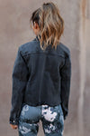 EUNINA True To Yourself Denim Jacket - Black closet candy womens jeans jacket raw edge back