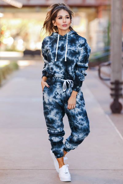 Tidal Wave Tie Dye Lounge Set - Black closet candy womens printed joggers and hoodie 2