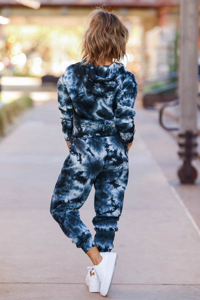 Tidal Wave Tie Dye Lounge Set - Black closet candy womens printed joggers and hoodie back