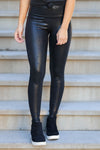Effortlessly Cool Glossy Snake Leggings - Black closet candy womens shiny reptile leggings 1