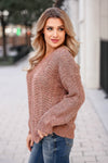 MYSTREE After Sunset Knit Sweater - Rose closet candy women's trendy herringbone knit sweater side