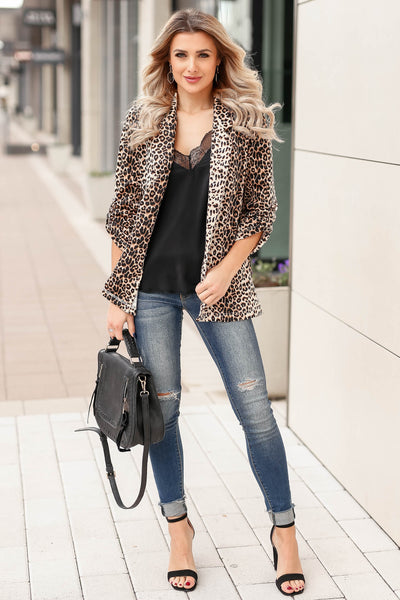 Boys Club Blazer - Leopard closet candy womens office chic animal print open front jacket 3