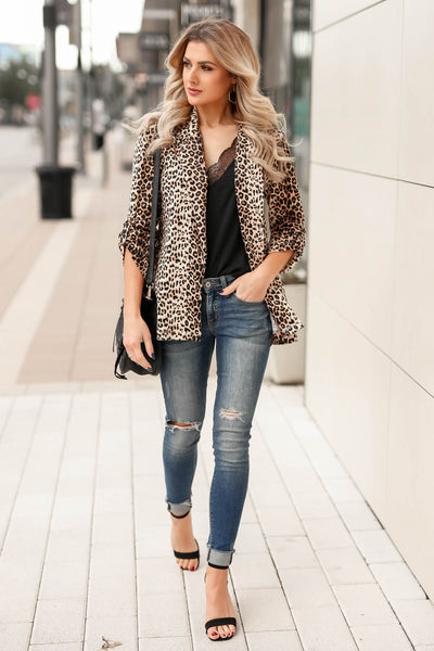Boys Club Blazer - Leopard closet candy womens office chic animal print open front jacket 6
