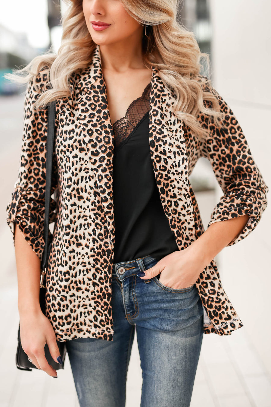 Boys Club Blazer - Leopard closet candy womens office chic animal print open front jacket 1