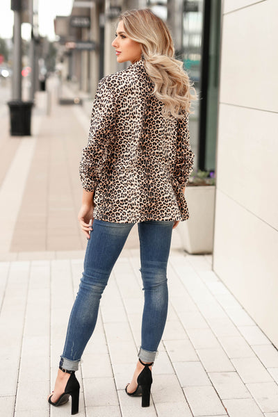 Boys Club Blazer - Leopard closet candy womens office chic animal print open front jacket 4