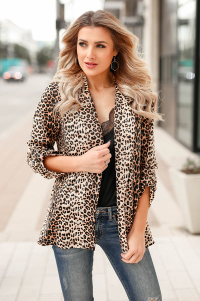 Boys Club Blazer - Leopard closet candy womens office chic animal print open front jacket 5