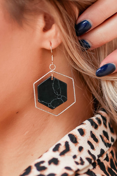 Inner Peace Earrings - Black closet candy womens hexagon and marble accessory 1