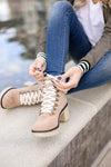 Monroe Sherpa Booties - khaki closet candy women trendy lace up thick heel short boots 2
