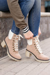 Monroe Sherpa Booties - khaki closet candy women trendy lace up thick heel short boots 1
