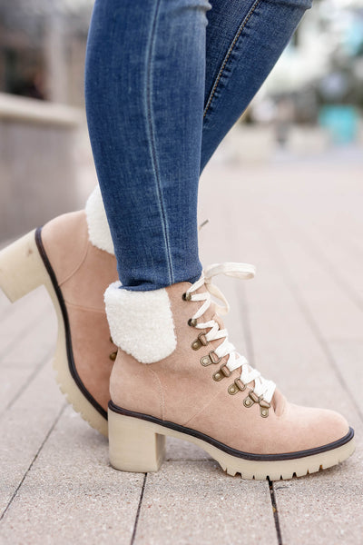 Monroe Sherpa Booties - khaki closet candy women trendy lace up thick heel short boots 3