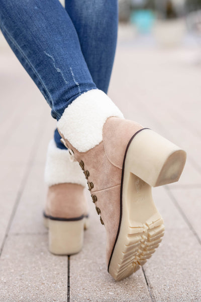 Monroe Sherpa Booties - khaki closet candy women trendy lace up thick heel short boots 4