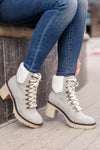 Monroe Sherpa Booties - Grey closet candy women trendy lace up thick heel short boots 1
