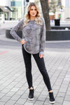 CBRAND Chase Your Dreams Long Sleeve Camo Top - Charcoal closet candy trendy womens round neck print shirt 4