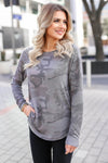 CBRAND Chase Your Dreams Long Sleeve Camo Top - Charcoal closet candy trendy womens round neck print shirt 5