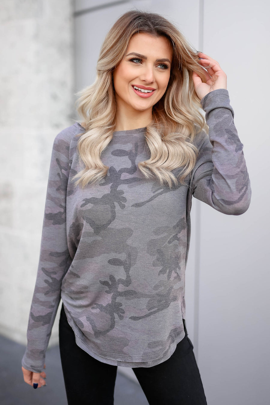 CBRAND Chase Your Dreams Long Sleeve Camo Top - Charcoal closet candy trendy womens round neck print shirt 1