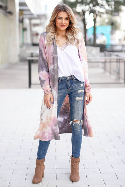 You Make Me Better Tie Dye Cardigan - Dusty Rose closet candy trendy women's open front duster front