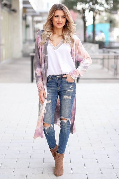 You Make Me Better Tie Dye Cardigan - Dusty Rose closet candy trendy women's open front duster front3