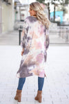You Make Me Better Tie Dye Cardigan - Dusty Rose closet candy trendy women's open front duster back