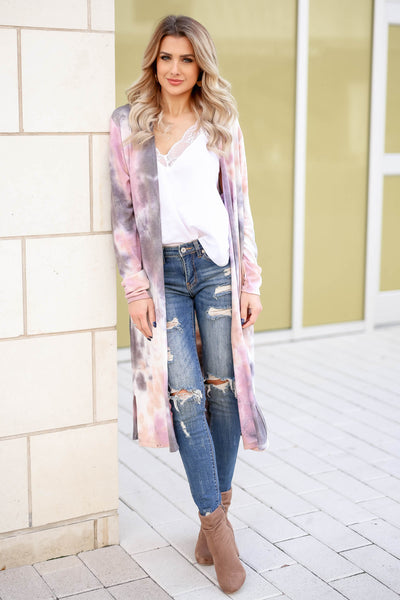 You Make Me Better Tie Dye Cardigan - Dusty Rose closet candy trendy women's open front duster front2