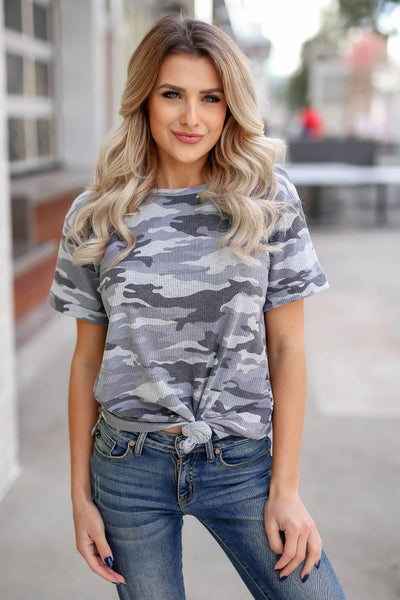CBRAND Looking Ahead Camo Top - Charcoal closet candy trendy women's round neck ribbed top front