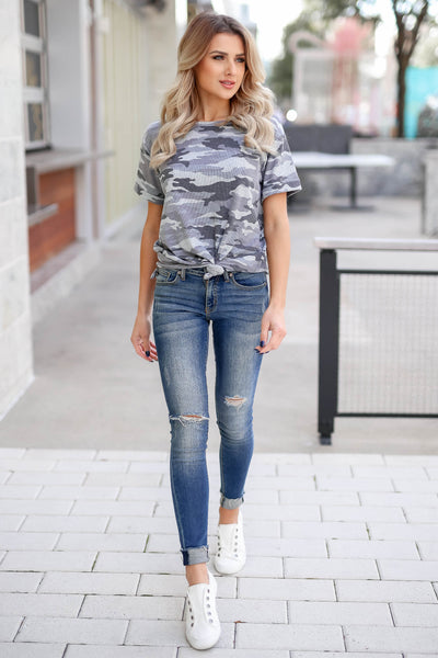 CBRAND Looking Ahead Camo Top - Charcoal closet candy trendy women's round neck ribbed top front3