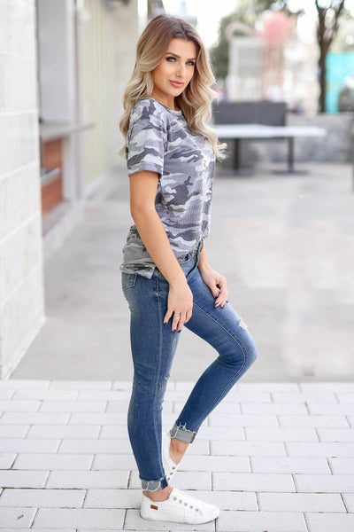 CBRAND Looking Ahead Camo Top - Charcoal closet candy trendy women's round neck ribbed top side