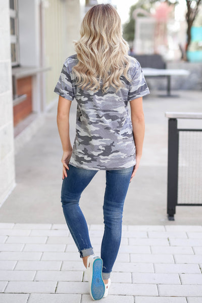 CBRAND Looking Ahead Camo Top - Charcoal closet candy trendy women's round neck ribbed top back
