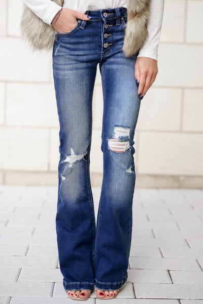 KAN CAN Ana Distressed Flare Jeans - Dark Wash closet candy womens trendy exposed button wide bottom denim 1