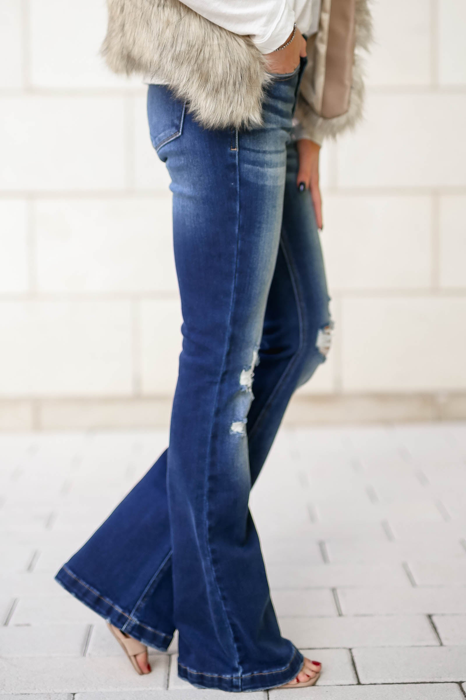 Kan Can Ana Distressed Flare Jeans Dark Wash Closet Candy Boutique