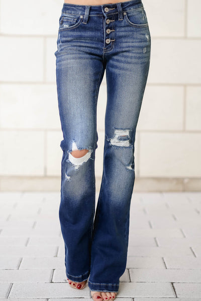 KAN CAN Ana Distressed Flare Jeans - Dark Wash closet candy womens trendy exposed button wide bottom denim 6