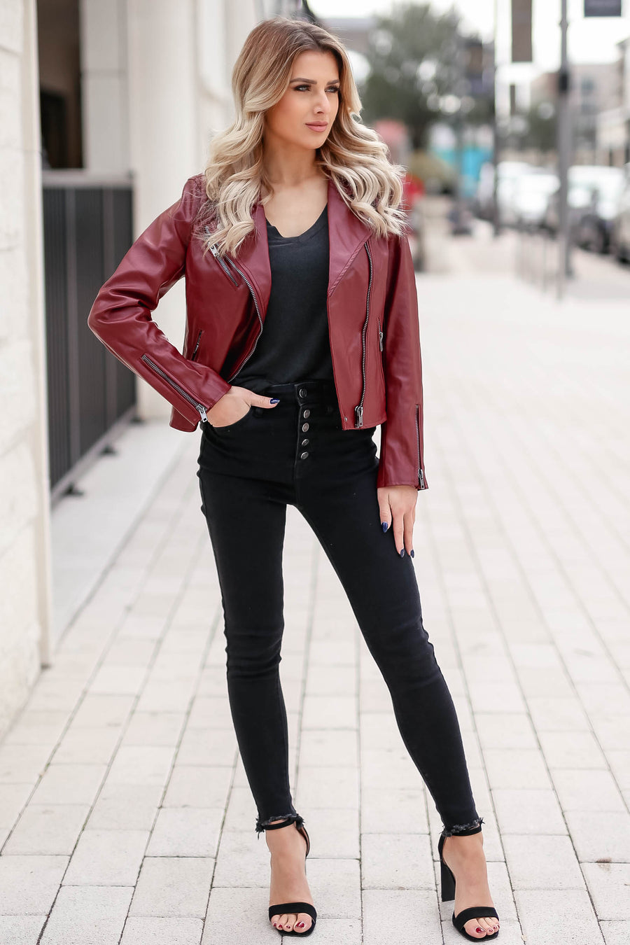 CBRAND Limitless Vegan Leather Jacket - Wine closet candy exclusive designer trendy womens Moto jacket 1