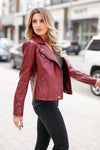 CBRAND Limitless Vegan Leather Jacket - Wine closet candy exclusive designer trendy womens Moto jacket 8