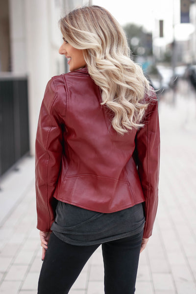 CBRAND Limitless Vegan Leather Jacket - Wine closet candy exclusive designer trendy womens Moto jacket 5