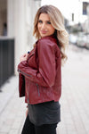 CBRAND Limitless Vegan Leather Jacket - Wine closet candy exclusive designer trendy womens Moto jacket 4