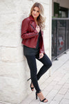 CBRAND Limitless Vegan Leather Jacket - Wine closet candy exclusive designer trendy womens Moto jacket 6