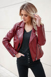 CBRAND Limitless Vegan Leather Jacket - Wine closet candy exclusive designer trendy womens Moto jacket 3