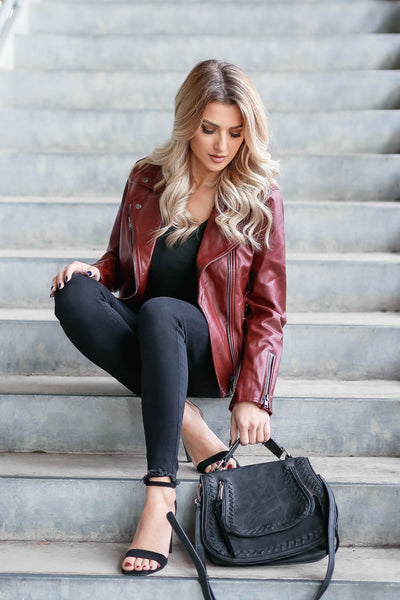 CBRAND Limitless Vegan Leather Jacket - Wine closet candy exclusive designer trendy womens Moto jacket 7