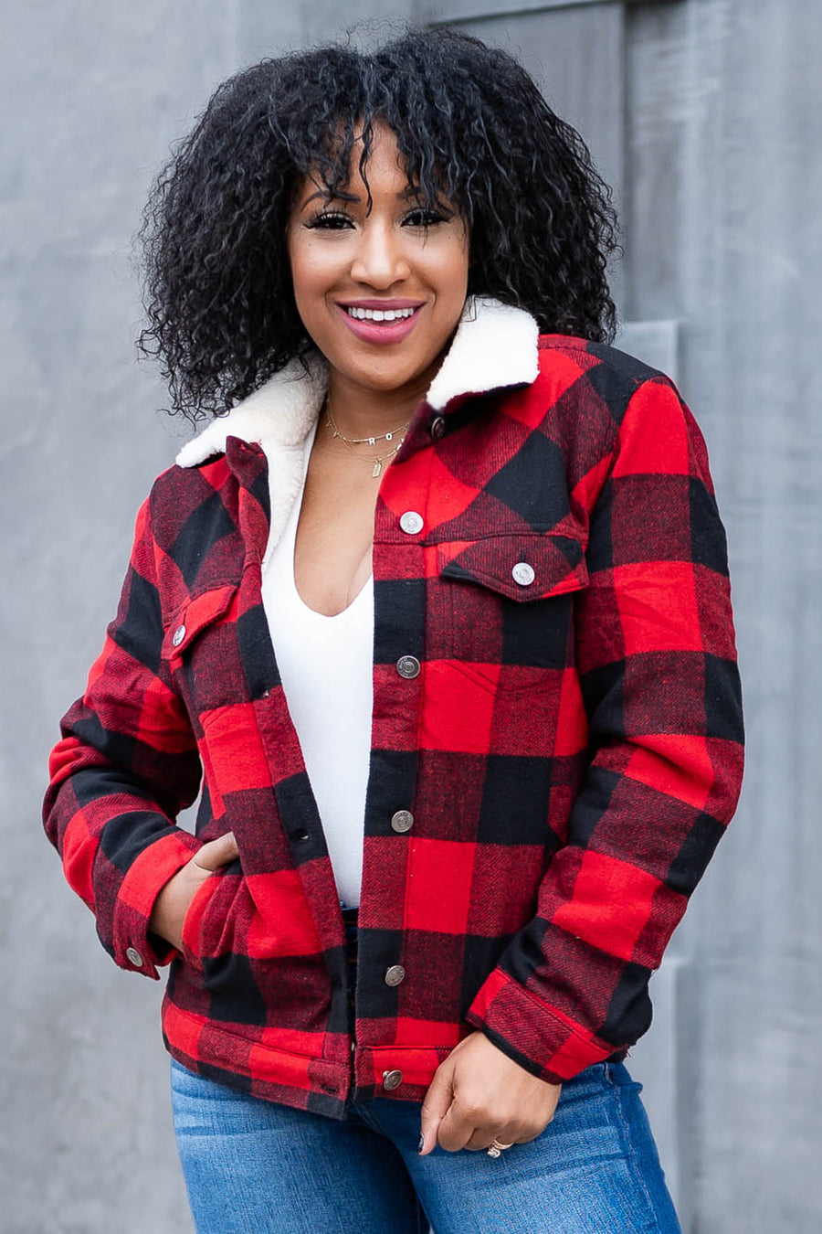 Tis The Season Sherpa Lined Plaid Jacket - Red closet candy womens coat 1