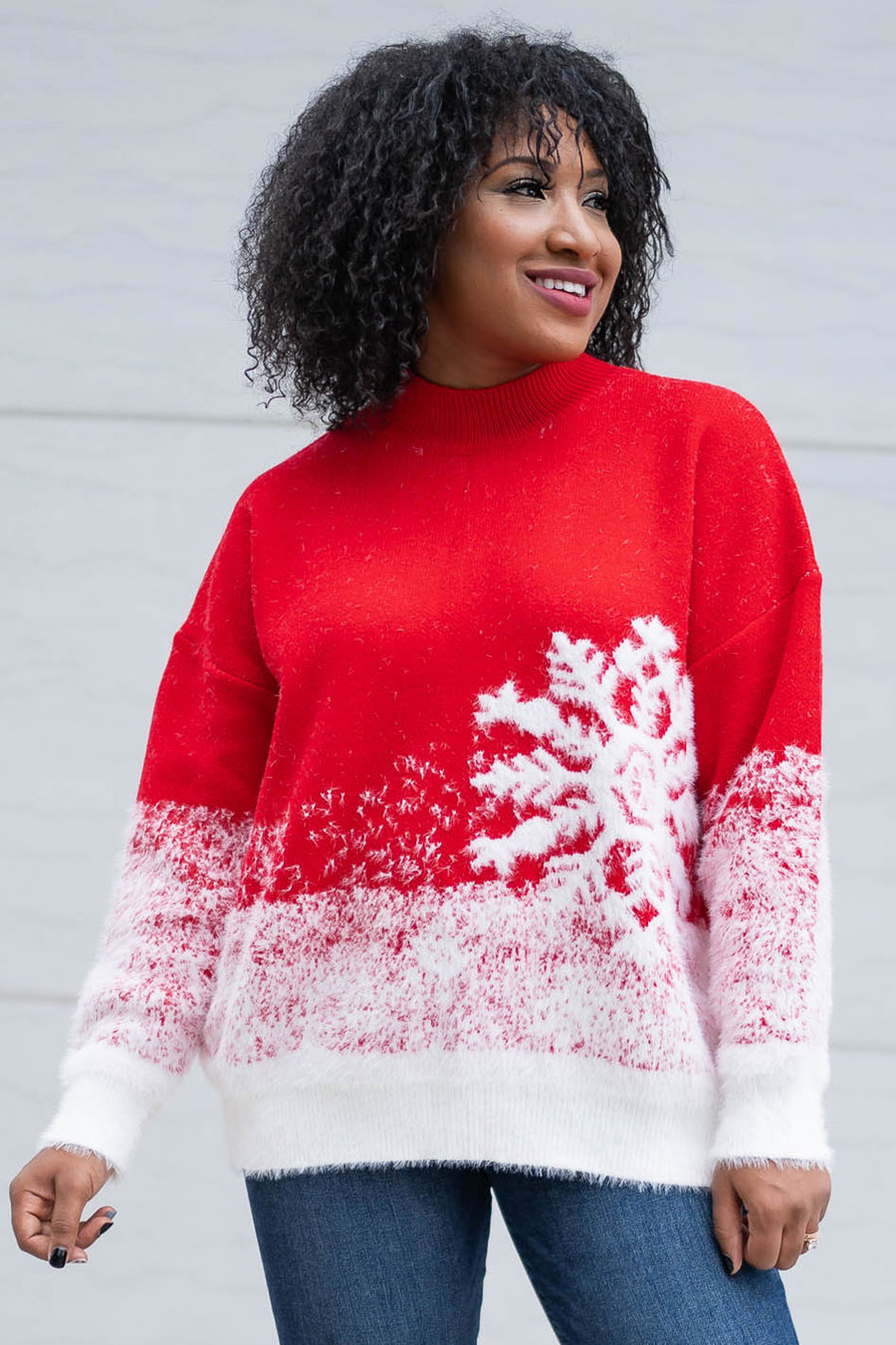 Let It Snow Sweater - Red closet candy womens Christmas snowflake sweater 1