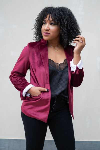 CBRAND Up Till Midnight Velvet Blazer - Wine  womens velvet jacket closet candy 5