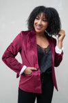 CBRAND Up Till Midnight Velvet Blazer - Wine  womens velvet jacket closet candy 1