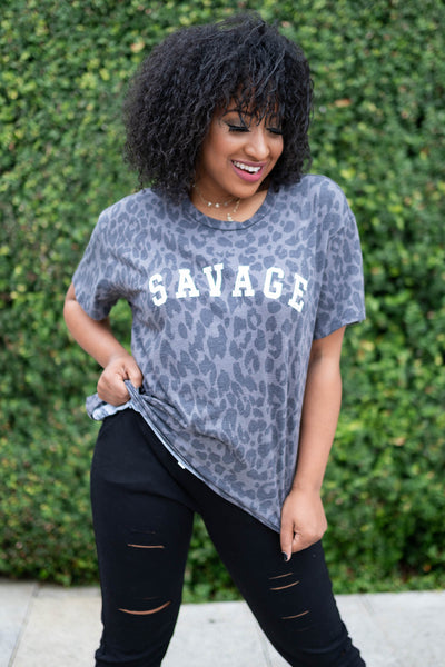 """Savage"" Leopard Graphic Tee - Charcoal closet candy womens printed shirt 1"