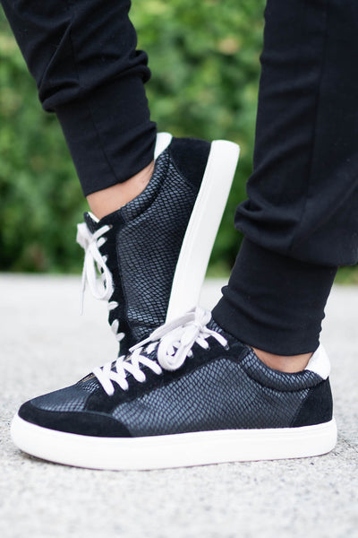 Cold Hearted Metallic Snake Print Sneakers - Black closet candy womens trendy shoes 1